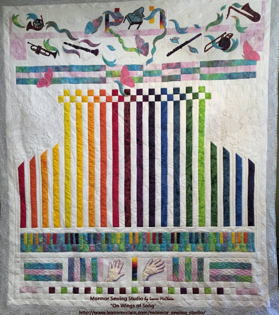 """On Wings of Song"" modern music quilt"